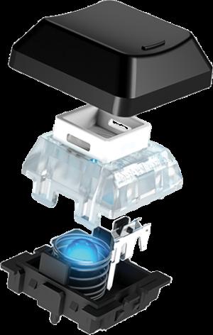 Net zoals bij de MX-toetsen wordt er contact gemaakt aan de zijkant van de toets en niet onder de toets.