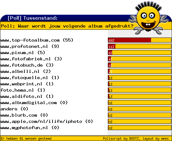 http://poll.dezeserver.nl/results.cgi?pid=372646&layout=2&sort=prc