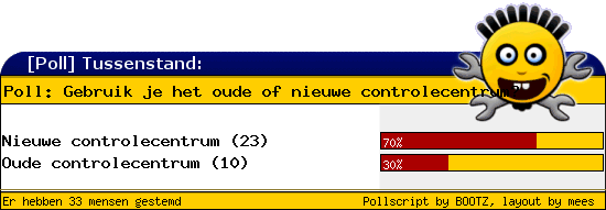 http://poll.dezeserver.nl/results.cgi?pid=403168&layout=2&sort=prc