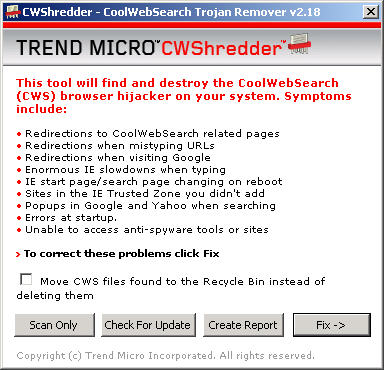 CWShredder 2.18 screenshot