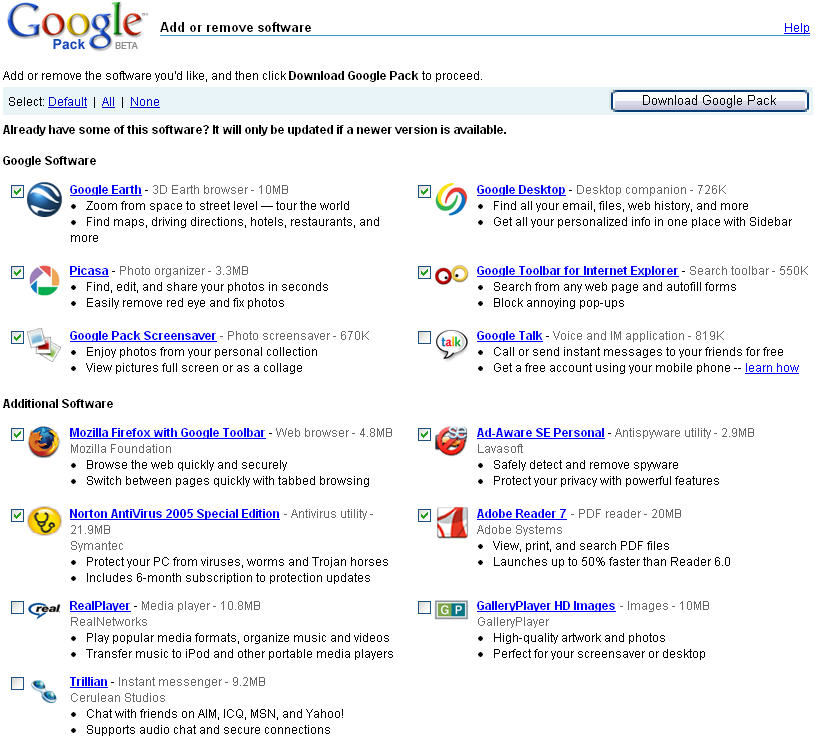 Software Update Google Pack Beta Computer Downloads Tweakers