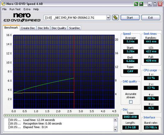 Nero CD-DVD Speed 4.60 screenshot (resized)
