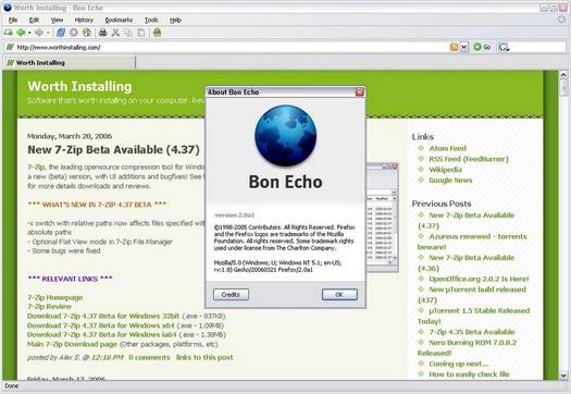 Mozilla Firefox Bon Echo screenshot (resized)