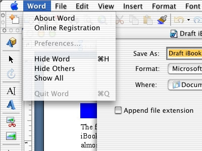 Office v. X Word screenshot