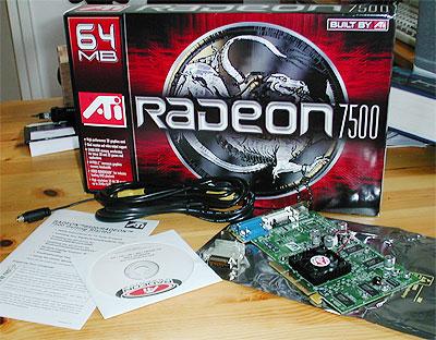 Radeon 7500 doos, kaart en kabels