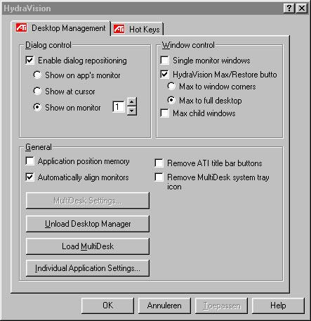 HydroVision configuratiescherm screenshot