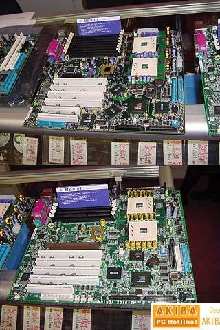 MSI 9102 (onder) en MSI 9103 (boven) dual Xeon moederborden