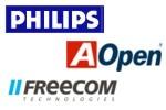 Philips, Freecom en Aopen logo