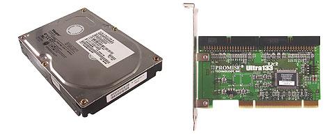 Promise Ultra133 TX2 IDE controller en een Maxtor DiamondMax D740X