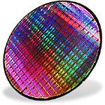 AMD Athlon 4 wafer (skewed met shaduw)