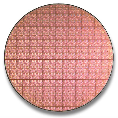 Intel Pentium 4 Northwood wafer (0,13 micron)