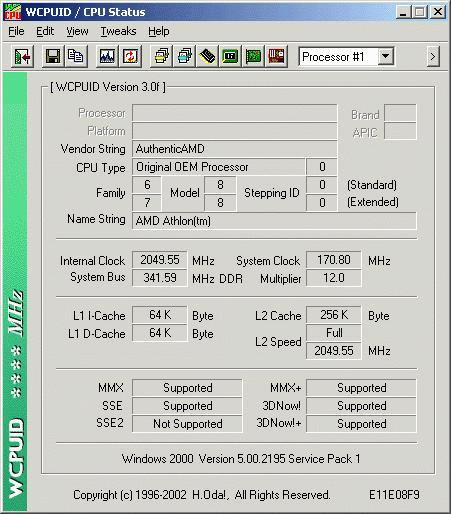 WCPUID screenshot (Thoroughbred at 2050MHz)