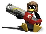 Tux met rocketlauncher