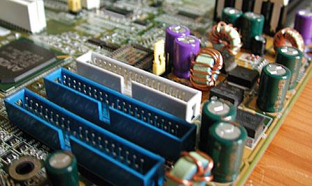 Closeup van de IDE-poorten