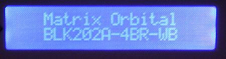 Matrix Orbital BLK202A-WB-4BR LCD kit in actie