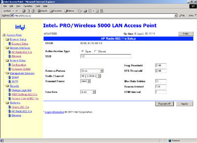 Intel Pro Wireless 54Mbit Access Point Screenshot
