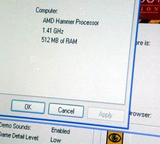 Screenshot CPUID demo Athlon 64 1,41GHz