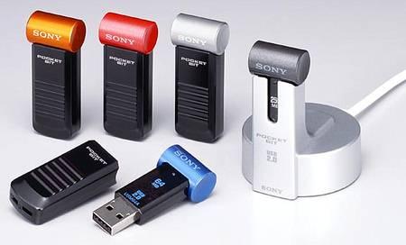 Sony USB 2.0 flashdrives in verschillende kleuren met cradle