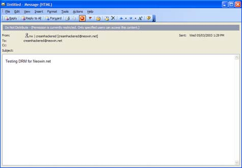 Microsoft Information Rights Management screenshot (Outlook)
