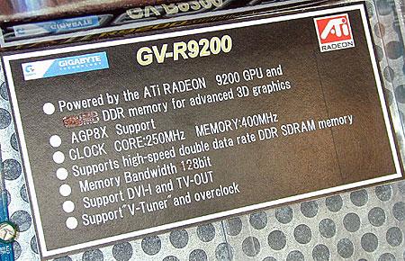 Gigabyte GV-R9200 specificaties