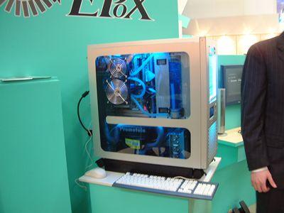 Epox-stand en A.P. Versteegs casemod met P4 en Prometeia koelsysteem