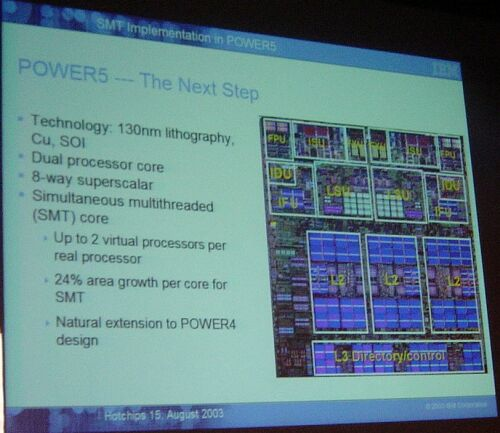 Hot Chips: IBM Power5 die
