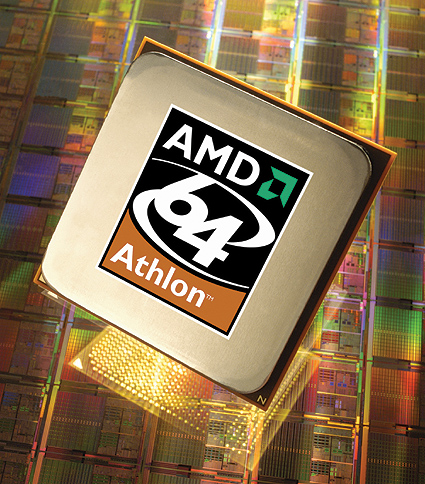 AMD Athlon 64 processor (wafer background, groot)