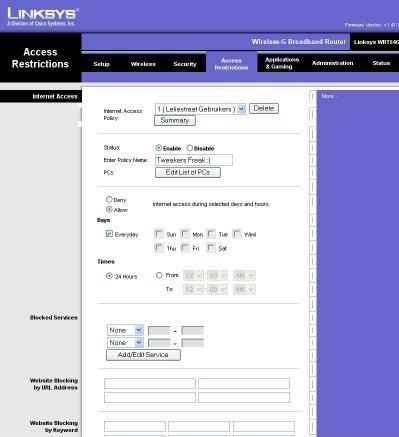 Linksys WRT54G firmware screenshot