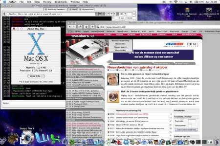 MacOS X 10.2.8 op een Apple Titanium PowerBook G4 (klein)