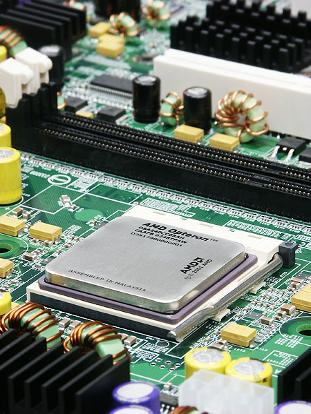 AMD Opteron CPU op moederbord (groot, hoog)