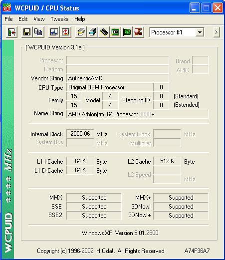 WPCPUID Athlon 64 3000+ (Newcastle)