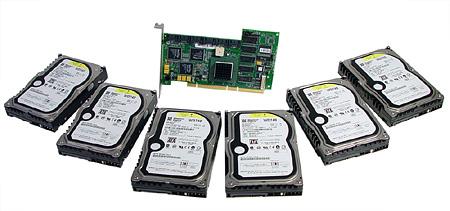LSI Logic MegaRAID SATA 150-6 with six Western Digital WD740GD 74GB hard disks.