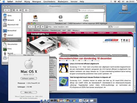 Apple Mac OS X 10.2.3 op Roelant's Apple Powerbook G4 (klein)