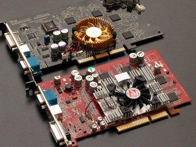 S3 DeltaChrome S8 naast ATi Radeon 9600 XT