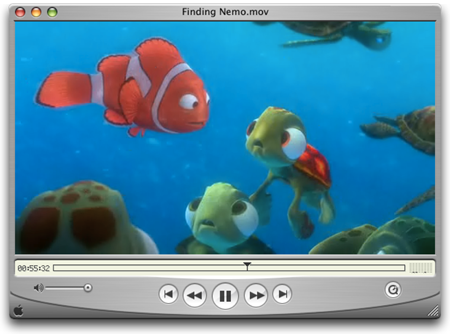 Apple QuickTime 6.5 speelt Finding Nemo af