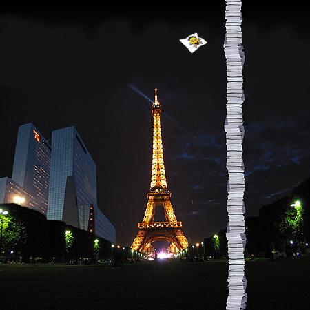 Tweakers.net virtuele papierstapel naast Delftse Poort en Eiffeltoren