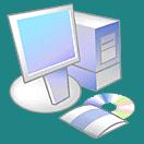 Personal computer met cd-rom en boekje