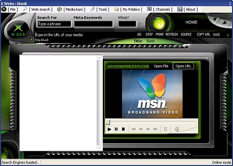 Xwebs screenshot (maart 2003, kleiner)