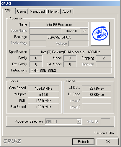 Pentium M Dothan in CPU-Z
