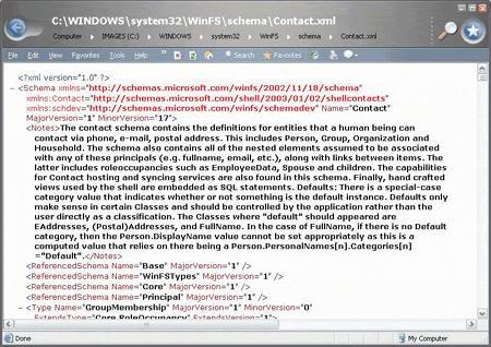 WinFS - XML metadata schema (klein)