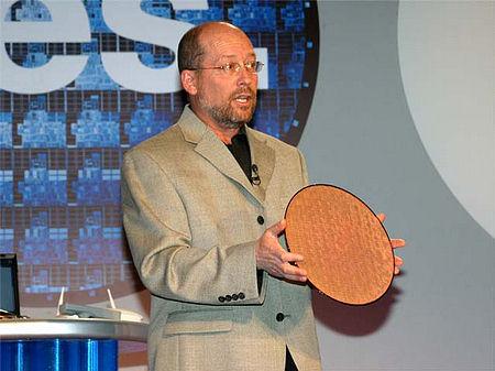Andere Intel-dude met Dothan wafer