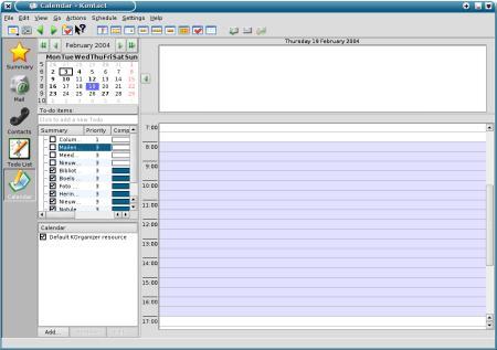 KDE Kontact (toont KOrganizer) (450px breed)