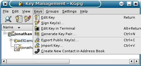 KDE KGpg (screenshot)