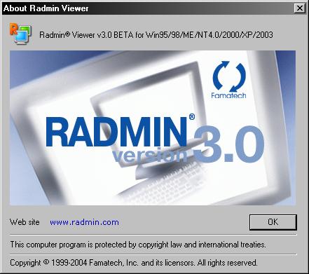 Remote Administrator Viewer 3.0 beta about-scherm