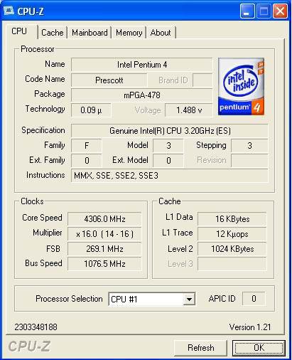 Pentium 4E Prescott 3,2GHz @ 4,3GHz