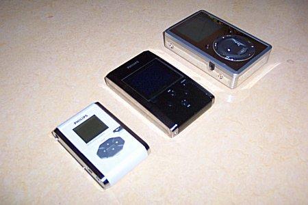 Philips hdd060 naast de hdd100 en de Mpio HD100