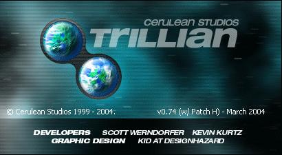 Trillian 0.74H about-scherm