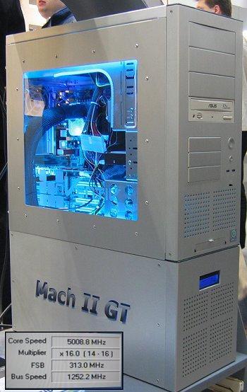 CeBIT 2004: P4 3,2 @ 5GHz met Mach II GT-koelsysteem