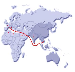 Globale ligging Breedbandpijp