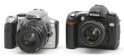 Nikon D70 naast Canon EOS 300D